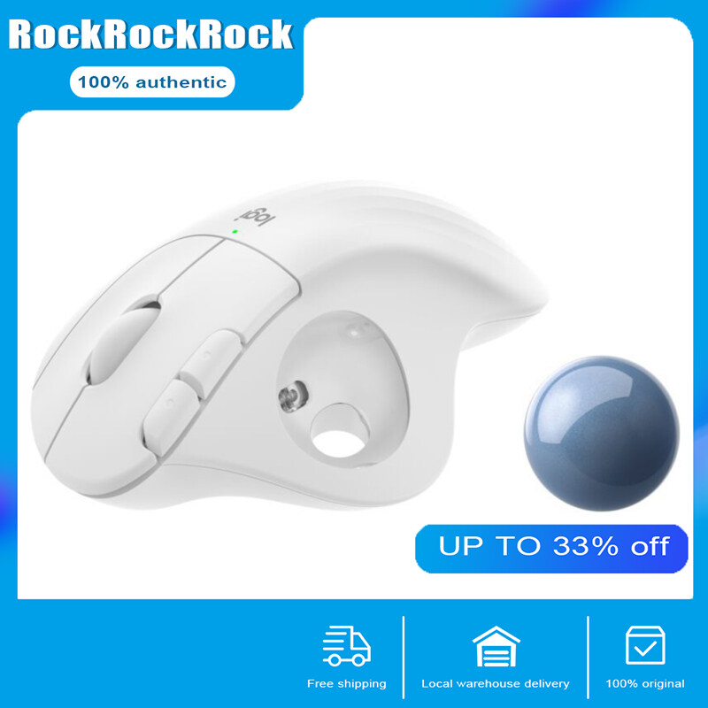 【in stock in Bnagkok now】Logitech ERGO M575 Wireless Trackball Mouse, Easy thumb control, Precision and smooth tracking, Ergonomic comfort design