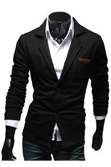 Gracefulvara Men's Casual Dress Slim Fit Two Button Suit Jackets Fashion Blazer Coat (Black)