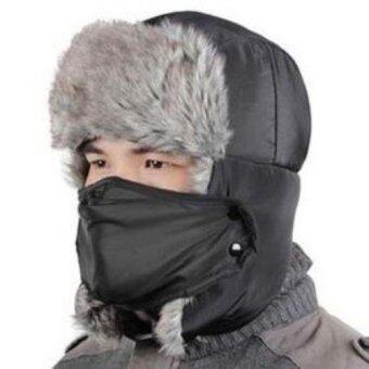 หมวกแฟชั่น ปิดหูครอบหัว กันหนาวหิมะ สีดำ มีที่ปิดปาก(Int: One size)
