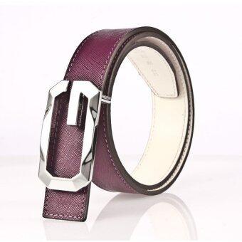 Leather lnc เข็มขัดผู้หญิง หนังแท้รุ่นW002-3238-purple
