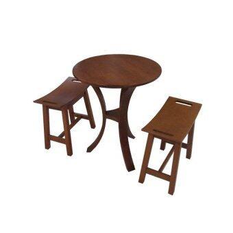 PT ชุดโต๊ะอาหารไม้ยางพารา 2 ที่นั่ง รุ่น FT-01 (สีสัก)