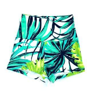 PURLI SAMUI HIGH WAISTED SWIM SHORTS กางเกงว่ายน้ำเอวสูงขาสั้น ลายใบไม้สีเขียว