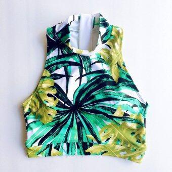 PURLI SAMUI TURTLENECK TOP เสื้อคอเต่าแขนกุดลายใบไม้สีเขียว
