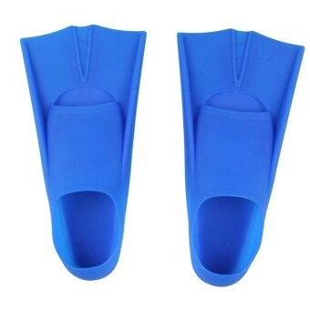 Silicone Rubber Short Swimming Training Fins for Kids and Adults 35-36(Blue)